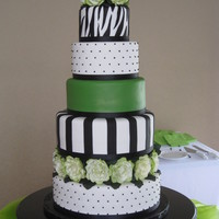 Black & Green Wedding Cake  First Wedding cake...what a challenge to start with such a big cake! Bride had a picture of a cake made by tcakes65 as inspiration. 14 - 12...
