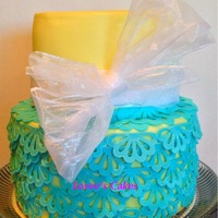 Lace Yellow Amp Teal Wedding Cake Lace yellow & teal wedding cake