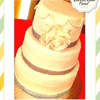 3 Tier Fondant Wedding Cake With Peony And Bling Ribbon 3 tier fondant wedding cake with peony and bling ribbon