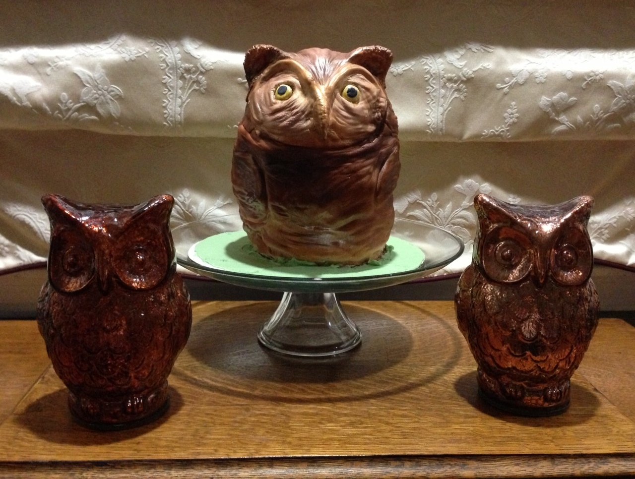 Owl Owl cake for my son. It was modeled after the two owl statues that my son keeps in his room.
