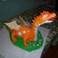 Dragon Cake 3D Dragon Cake for my son's birthday. Used PVC piping to support the neck and head that are made from RKTs and modeling chocolate