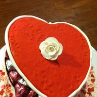 Valentine Candy Box Red Velvet cake shaped like a heart and decorated to look like a heart candy box