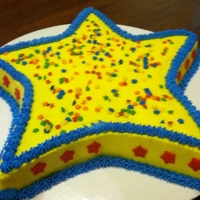 "Star Cake Two rounds (size 9"" & 8"") cut into a star shape. Larger round cut for the points. Smaller round cut into a pentagon."