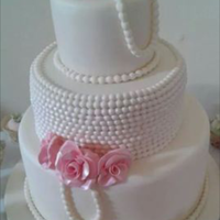 Pearls And Pink Roses Art deco 1920's pearls and roses pink ivory round wedding cake