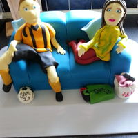 Figures On A Sofa   For my drinks children. Double birthday celebration.