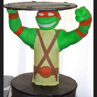 Teenage Mutant Ninja Turtles Teenage Mutant Ninja Turtle grooms cake. Cake was German Chocolate. Michelangelo was made from rice cereal and covered in fondant.