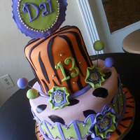 13Th Birthday Cake animal print and purple and green