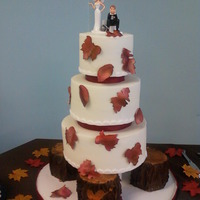 Fall Theme Wedding Cake All buttercream iced - gumpaste leaves