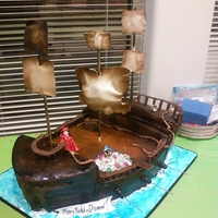 The Goonies Pirate Ship Pirate ship sails made out of gumpasteBirthday boy sculpted wearing pirate gear