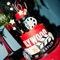 Sweet 16 Cake - Hollywood Theme   French Vanilla and Chocolate cakefondant covered with gumpaste accents