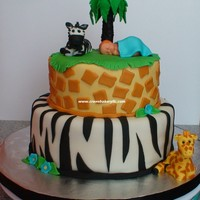 "Jungle Baby Shower Cake 8"" and 6"" Chocolate Cake with Vanilla Swiss Meringue Buttercream, MMF. All figures are fondant."