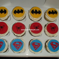 Superhero Cupcakes Vanilla Cupcake with White Chocolate Buttercream with fondant accents