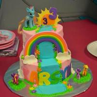 My Little Pony Cake Iced In Buttercream With Fondant And Gumpaste Decor My Little Pony Cake Iced in buttercream with fondant and gumpaste decor.