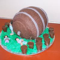 Beer Barrel Cake With Liquor Cup Chocolates This cake I made for my friend Mark's 21st Birthday. He loved it. I made the Guiness Beer Chocolate Cake and Brown Sugar Buttercream...