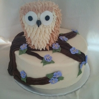 Owl Cake The cake and the owl is all buttercream, except for his eyes which are MMF. The flowers are royal icing. I normally make only fondant...