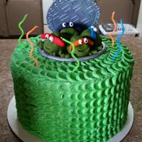 Ninja Turlte   *loved making this for my son!! Ninja turtles made of fondant with butter cream frosting.