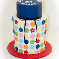Spotty Double-Barrel Deisgn by the extremely talented Lisa of 'Sweet Disposition Cakes', my first double barrel attempt.
