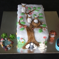 Owls And Friends Cake This cake was made for a friend who had liver cancer as she loved owls, cats and small creatures!
