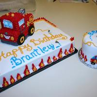 Firetruck First Birthday Cake With Smash Cake *