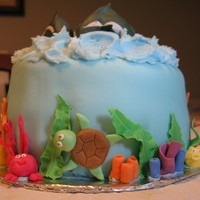 Under The Sea! 1St Birthday   I did a small cake, smash cake, and 100 cupcakes for my friends son's 1st birthday. The figures are fondant and gumpaste.