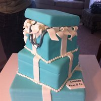 Tiffany Gift Box Cake!!!! This was a two tiered cake, the bottom a dummy layer. The ribbons are made from fondant that I let harden overnight. I used straws to hold...