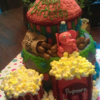 Elephants, Peanuts, And Popcorn - Oh My! Baby's 1st Birthday - Pink Elephant/ Circus/ Carnival Theme: Everything is edible; cakes are iced in buttercream; elephant, peanuts...