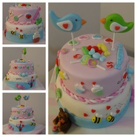 Valentine's Day fondant, birds, lollipop