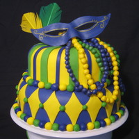 Mardi Gras covered in fondant. All the beads and mask are made of fondant. Enjoy!