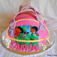 Vanilla Sponge Cake With Tutty Fruity Dora Handbag Cake Vanilla sponge cake with Tutty Fruity, Dora Handbag cake.