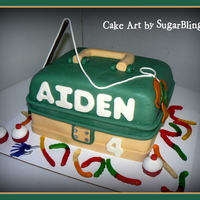 Aiden's Tackle Box the top tier is chocolate cake with cookies and cream filling and the bottom tier is white cake with vanilla filling. It's iced in...