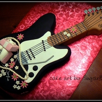 Guitar And Pearls Engagement Cake