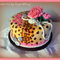 Fondant Covered Cake Painted With Food Color Gels And Decorated With Gumpaste Roses Pearls And Brooches fondant covered cake painted with food color gels and decorated with gumpaste roses, pearls and brooches