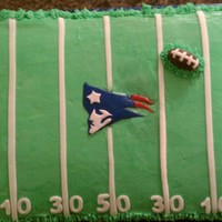 Patriots Birthday This is a 9x13 chocolate cake with butter cream and fondant decorations. I made this for my nephew's 8th birthday which is on football...