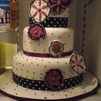 40Th Birthday Cake   modern purple,black and white cake 3 tier
