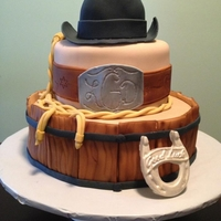 Western Engagement Cake Inspired by cakes here on CC. For a western themed engagement party.