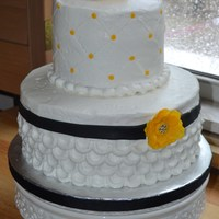 Wedding Cake With Yellow Flowers Friends of mine who got married away just wanted a small cake to cut at their at-home reception. WASC cake with BC frosting, black fondant...
