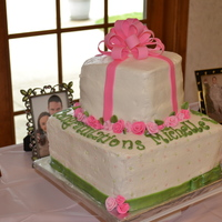 Pink & Green Bridal Shower Cake Made this cake for a good friend's sister's bridal shower. Bottom tier is marble chocolate and WASC cake with BC frosting. Top...