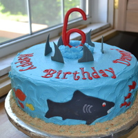 "Shark Cake Shark cake for a boy turning 6. Cake is WASC with BC frosting and gumpaste accents. ""Sand"" is crushed Nilla Wafers."