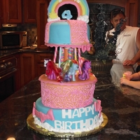 Carousel Cake Mother provided the My Little Ponies for the cake. 12 inch, 10 inch, and 8 inch vanilla cake with whipped icing filling, covered in fondant...
