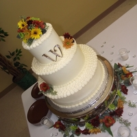 Fall Wedding 14, 10, 6, covered in ivory buttercream and real flowers