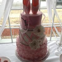 Pink Ballerina Cake Fondant covered 3 tier cake, made for a friends daughters party. Everything on this cake is edible except the bling ribbon, and th ribbon...