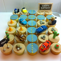 Cars Cupcakes   All the cars are made of fondant.