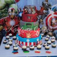 Avengers Birthday Cake Thor, Spider-Man, Hulk, Iron Man and Captain America birthday cake