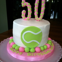50Th Birthday Cake For A Tennis Player pink and green cake with fondant accents