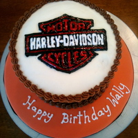 Harley Logo Cake Piping gel transfer of the Harley Davidson Logo