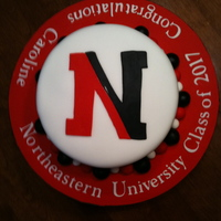 "Graduation Cake fondant covered cake with Northeaster University ""N"""
