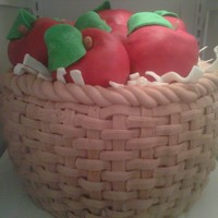 Basket Of Apples This is an apple spice cake with Apple pie filling and cream cheese icing. The apples are made of rice cereal treats and fondant.