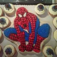 Spiderman Cake This is the traditional star studded cake made from the Wilton pan. It is a lot harder than it looks to do the lines for the web, the pan...