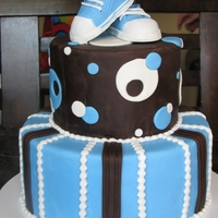 Boy Baby Shower Cake   This was for my neice who is having a baby boy. The shoes are gum paste and fondant.