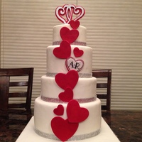 This Was Made For My Nephews Wedding Vanilla Bean Cake With Strawberry Smbc Marshmallow Fondant And Gumpastefondant Hearts As Decoratio  This was made for my nephew's wedding. Vanilla bean cake with strawberry SMBC, marshmallow fondant and gumpaste/fondant hearts as...